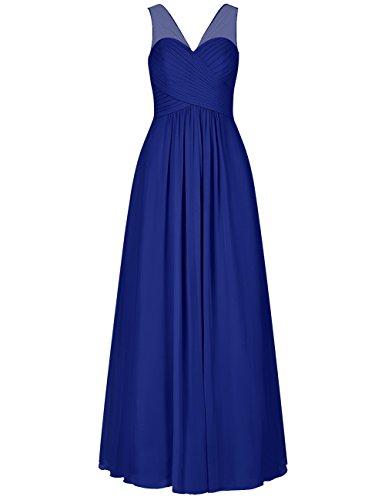 Bretelles En Mousseline De Soie Pure Cdress Cou V Longues Robes De Demoiselle D'honneur Robe De Bal Parti Formel Bleu Royal