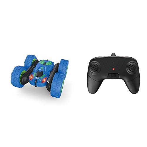 (CHoppyWAVE 1/28 2.4G Double Side 360 Degree Rotary LED RC Stunt Off-Road Remote Control Car for Kids RC Car for Boys Toy Blue)