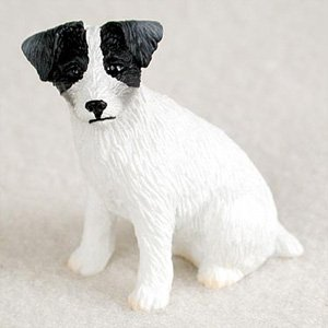 Jack Russell Terrier Black And White w/Rough Coat Dog Figurine, Height Approx. 2 Inches