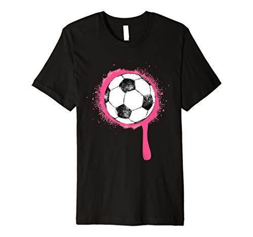 Paint Womens Pink T-shirt - Soccer Ball Pink Paint Splash Simple Fashion Art Premium T-Shirt