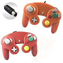 Reiso 2 Packs NGC Controllers Classic Wired Controller for Wii Gamecube(Red and Orange) ()