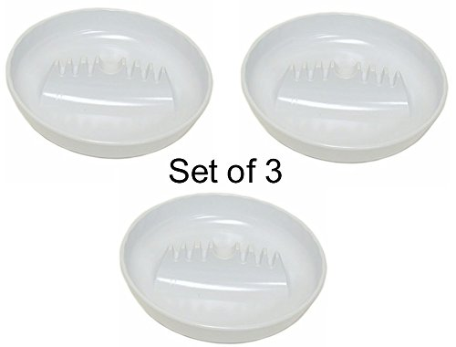"""7"""" Large Round Plastic Ashtray with Cigar Notch-Red, White or Black (White - Set of Three)"""