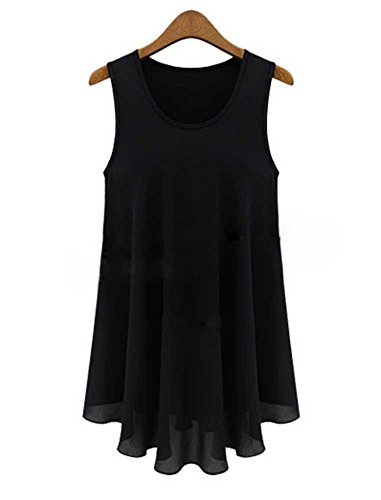 QZUnique Women's Plus Size Elegant Sleeveless Shirt Chiffon Top Tank 4XL