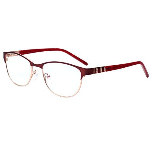 High Quality Ladies Blue Light Filter Readers Eyewear Frame Half Frame Reading Glasses with Rhinestones SK-0019 Red/+2.00
