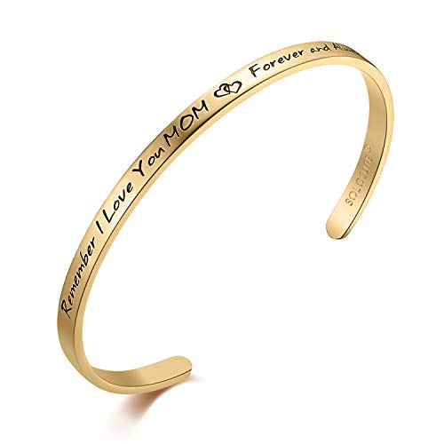 Solocute Mothers Day Bracelet Engraved Remember I Love You MOM, Forever and Always Inspiration Gold Plated Cuff Bracelet, for Mum, Mothers Day, Thanksgiving Day and Birthday (Golden)