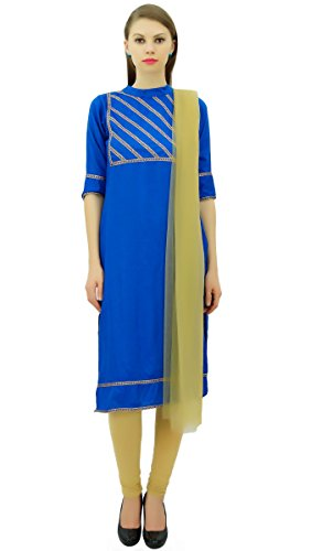 Freizeitkleidung Baumwolle Set und Beige Readymade Indischen Suit Straight Koenigsblau Frauen Atasi 7qw05Ua7