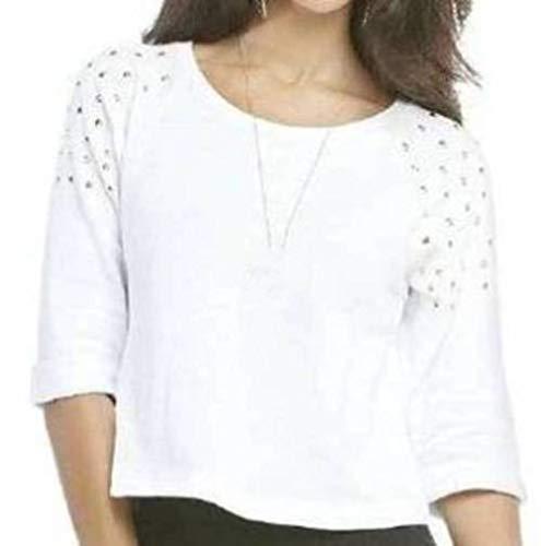 (Nicki Minaj Womens French Terry Studded Raglan Sleeve Top (Medium, White))