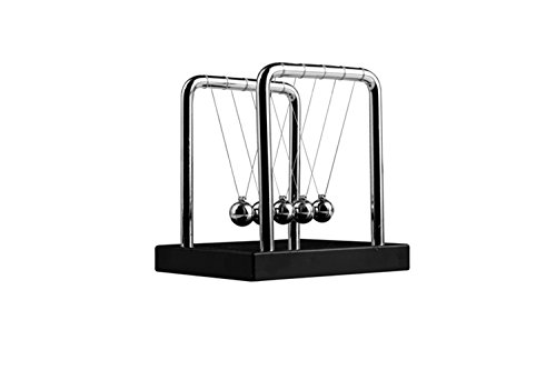 Sunnytech Newton's Cradle Balance Balls Science Psychology Desk Decor Toy Metal Balance Ball Executive Ball Clicker Black Wooden Base- Small WJ035
