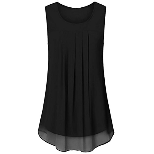 Wintialy Women Sleeveless Chiffon Solid Vest Blouse Tank Tops Camis Clothes Beaded Chiffon Tank
