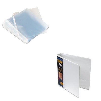 KITCRD16703UNV21125 - Value Kit - Cardinal SpineVue Locking Round Ring Binder (CRD16703) and Universal Top-Load Poly Sheet Protectors (UNV21125) by Cardinal