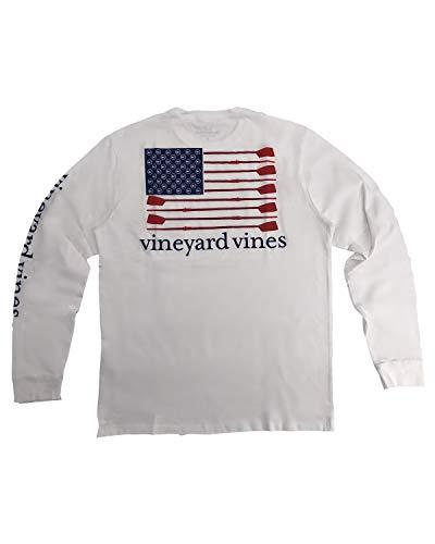 Vineyard Vines Long-Sleeve Rowing Flag Pocket T-Shirt (White Cap, X-Large)