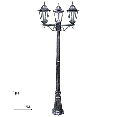 Fan Europe Lampione a Tre luci per Esterno E27, 40 W, Nero, 218x46.5 ...