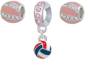 Set of 3 3-D Red White /& Blue Volleyball Pink Sparkle Crystal Charm Beads