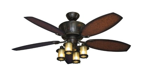 "Centurion Outdoor Ceiling Fan in Oil Rubbed Bronze with 52"" ABS Aged Mahogany Blade and Light (Indoor or Outdoor Use)"