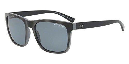 Armani Exchange Men's Injected Man Polarized Square Sunglasses, Grey/Top Matte Grey Havana, 57 ()