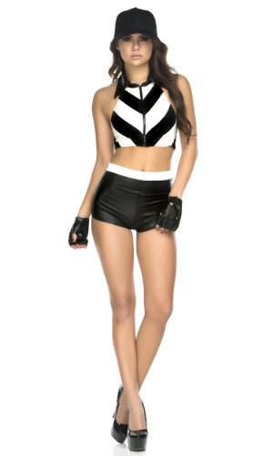 Womens Referee Costume With Shorts (Forplay Women's Petite Foul Play Referee Top Shorts Gloves and Hat, Black, Medium/Large)