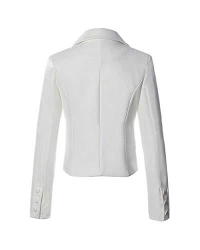 Tailleur Bianca Giacca Classiche Vintage Fashion Sudore Di Lunga Button Con Mode Tasche Donna Elegante Da Monocromo Marca Manica Blazer Giacche zAqgSwR