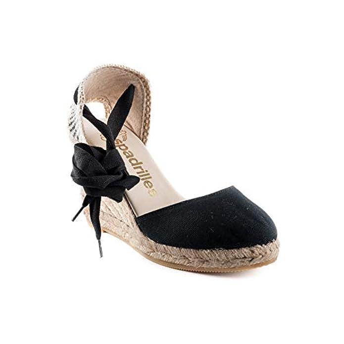 Espadrilles Scarpe Sandalo Donna Chiara Lona Negro Pe18