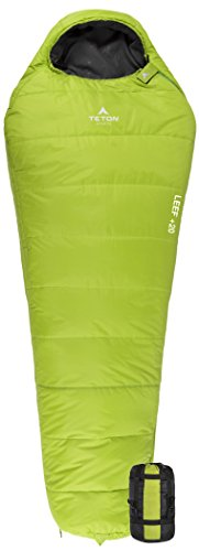 TETON Sports LEEF Lightweight Adult Mummy Sleeping Bag; Great for Hiking, Backpacking and Camping; Free Compression Sack: Green ()