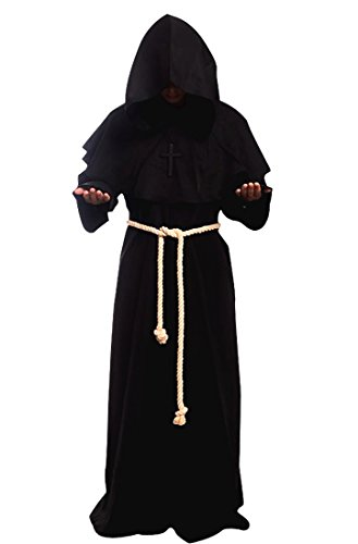 Medieval Priest Monk Robe-Hooded Cap Cloak for Wizard Sorcerer (XS/Black) ()