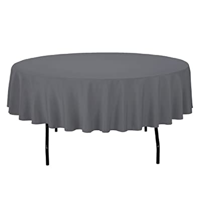 LinenTablecloth Round Polyester Tablecloth, 90-Inch, Charcoal - Easy laundering in your home washing machine Serged hem for elegant look Polyester tablecloths made from durable, stain and wrinkle resistant 100% polyester material. - tablecloths, kitchen-dining-room-table-linens, kitchen-dining-room - 319EkXcDNfL. SS400  -