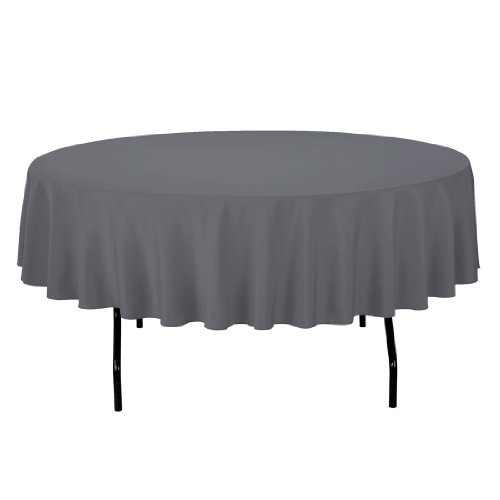 319EkXcDNfL - LinenTablecloth Round Polyester Tablecloth, 90-Inch, Charcoal