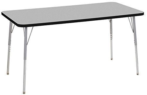 ECR4Kids Contour 30'' x 60'' Rectangle Activity School Table, Standard Legs w/ Swivel Glides, Adjustable Height 19-30 inch (Grey/Black) by ECR4Kids