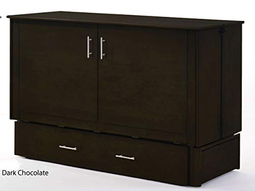Night & Day Furniture Sagebrush Murphy Cabinet Bed with Mattress, Dark Chocolate, Queen
