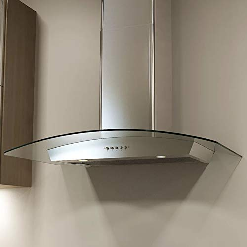 - Miseno MH00330G 750 CFM 30 Inch Stainless Steel Wall Mounted Range Hood with Dual Halogen Lighting System and Glass Accent
