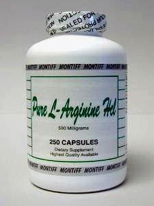 Pure L Arginine HCl 500 mg 250 Capsules