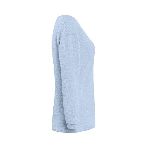 Chemise Chic Bleu Profond Tops Blouse Côtés Pullover Solide Longues V T Automne Deux Hauts Sweater Pulls shirts Top Itisme Couleur Unie Manches Courte Chandail Femme Slim Col q54RjAc3L