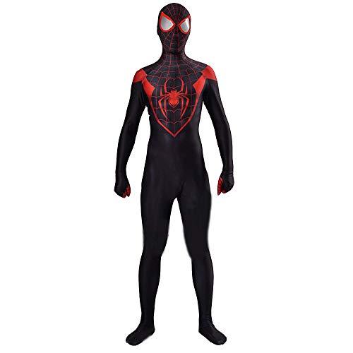 QXMEI Spiderman Cosplay Jumpsuit Black Red Spiderman Suit Halloween Show Costume,Men-L