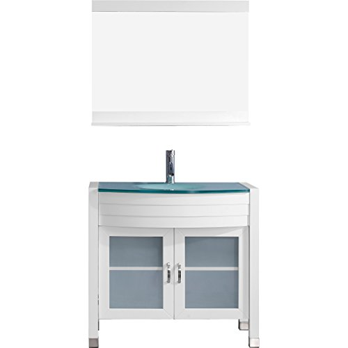 Virtu USA UM-3071-G-WH-001 Not Applicable Ava 36 inch single Bathroom Vanity In White with Aqua Tempered Glass Top & Round Sink with Brushed Nickel Faucet & Mirror by Virtu USA