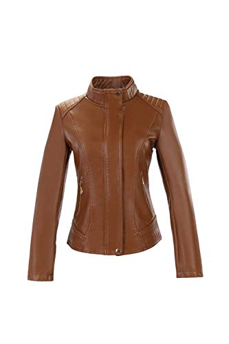 Brown Slim Moda Cappotto Autunno Giubbino In Similpelle Con Fit B16wxfqgE