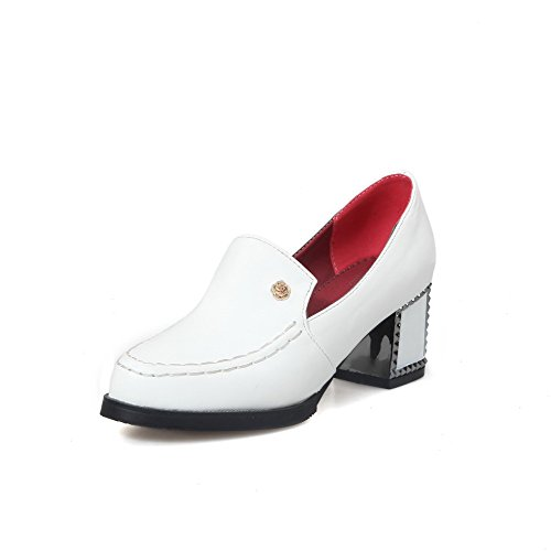 AllhqFashion Womens PU Kitten Heels Round Closed Toe Solid Pull on Pumps-Shoes White 5P4Mp