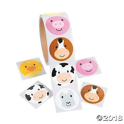 200 Adorable FARM ANIMAL Face STICKERS (2 Rolls of 100) - PARTY FAVORS - COWS Pigs DUCKS - Daycare - DOCTOR - Classroom - Teachers: Kitchen & Dining