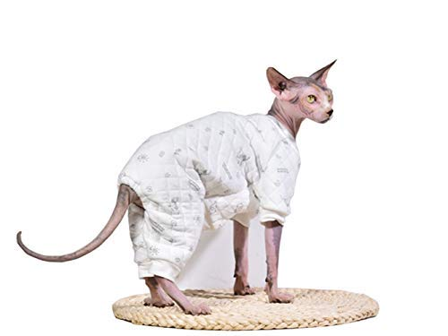 Khemn Designer Cat Warm Clothes Cat Sweater Jumpsuit Cat Pajamas with Thick Fleece-Best for Hairless Cat, 5 Colors (White, M) -