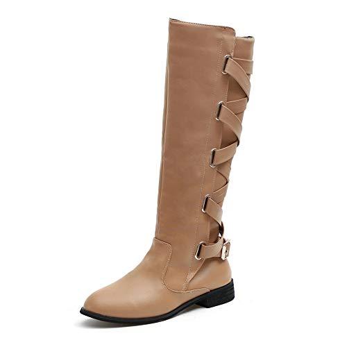 Ladies Boots Shoes Cowboy Long Shoes Martin Riding Fashion Knee Roman Boots Khaki High Buckle Women 43 35 AzgqdwA