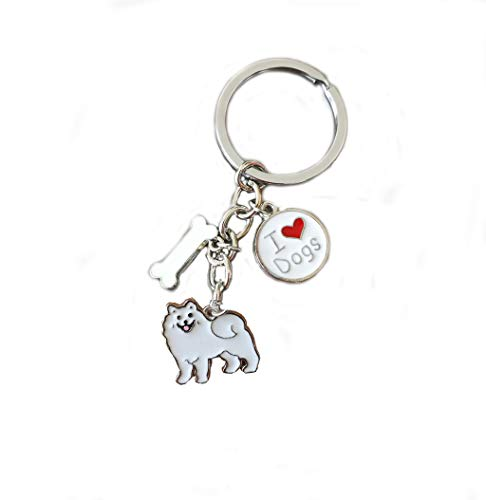 (Keychains, Lovely Dog Key-ring Portable Metal Keychain Keyring Key Decor Car Keyring Tag (Samoyed))