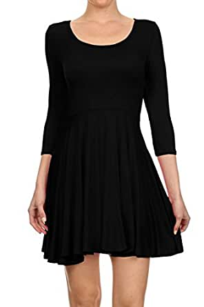 Women's Casual Jersey Long Sleeve Flare Mini Skater Dress (SMALL, BLACK)