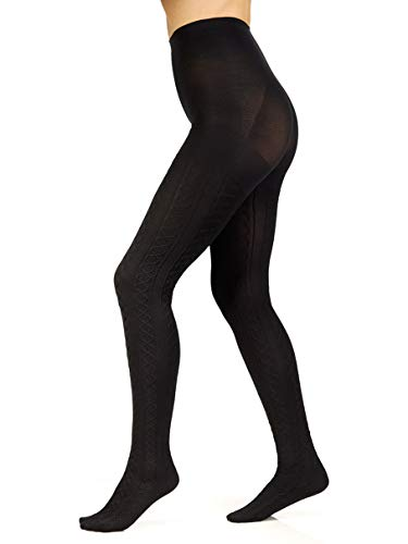 us-Size The Easy On! Cable Knit Tights, Black, 3X-4X ()