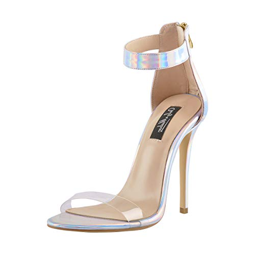 Onlymaker Womens Ankle Strap Heeled Sandals Holographic Open Toe Stilettos High Heels Shoes Size 13]()