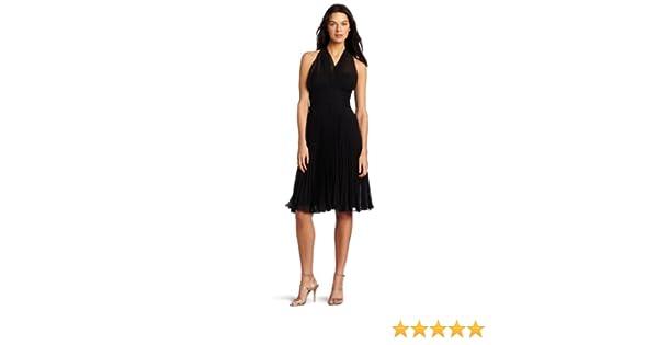 Evan Picone Womens Picone Chiffon Halter Dress Black 4 At Amazon