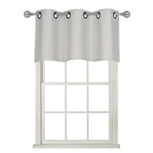 (Home Queen Grommet Top Blackout Curtain Valance Window Treatment for Living Room, Short Straight Drape Valance, Set of 1, 37 X 18 Inch, Fog Grey)