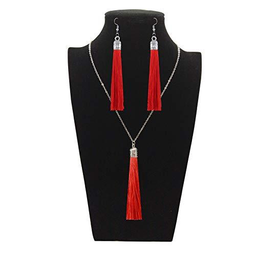 Earrings 4 Necklace Pendant - Tuoke-peri Colorful Long Tassel Necklace Dangle Earrings Bohemian Drop Pendant Jewelry Sets for Women and Girls (4 red)