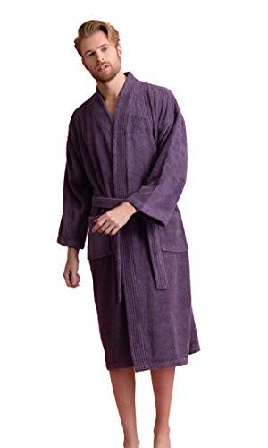 Men's Robe, Turkish Cotton Terry Kimono Spa Bathrobe (XX-Large, Purple) (100 Cotton Mens Bath Robe)