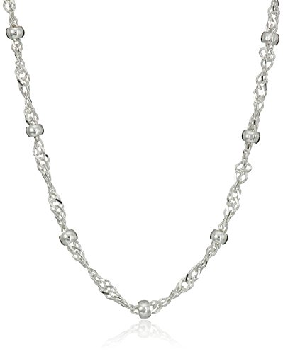 Amazon Essentials Sterling Silver Singapore Bead Chain Station Necklace, 18