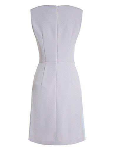 PU&PU Robe Aux femmes Trapèze Simple,Couleur Pleine Col Arrondi Mini Polyester , gray-m , gray-m