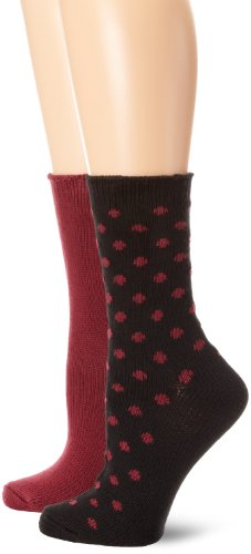 Nine West Women's Dot and Solid Flat Knit 2 Pair Boot Pack Socks, Jet Black, One Size (Rubber Nine Boots West)