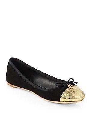 Tory Burch Chelsea Ballet w/Cap Toe Soho Lux Suede Flats Black/Gold Size 9